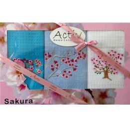 """Набор из 3-х вафельных полотенец с вышивкой """"Цветы сакуры"""". Подарочная коробка с ленточкой."""