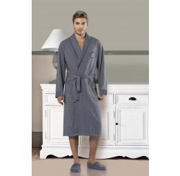 Мужской трикотажный халат 5046-1(синий)