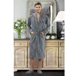 Мужской трикотажный халат 5052(синяя полоска)