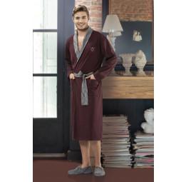 Мужской трикотажный халат 5053-1(бордо)