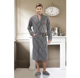 Мужской трикотажный халат 5052-1(бордовая полоска)