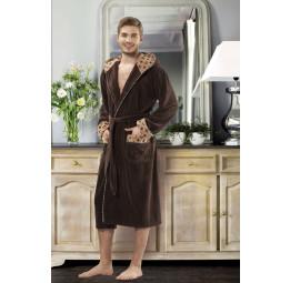 Стильный бамбуковый махровый халат с капюшоном 5071(шоколад)