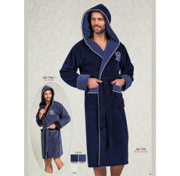 Мужской халат с капюшоном NS-7160 (синий)