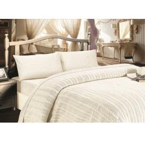 Шикарное постельное белье из сатина с вязаным одеялом - покрывалом JALE'S(EMD cream) - Хит продаж!