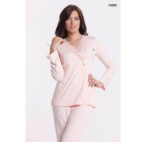 Шикарный костюм - пижама для отдыха и сна с кружевом AQUA's(ЕА 14069)